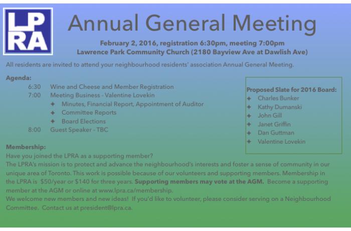 AGM – February 2nd, 2016